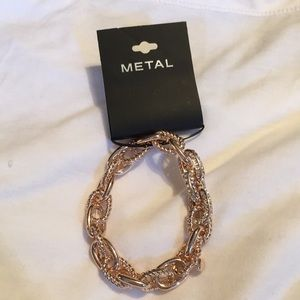 Rose Gold Chain Link Bracelet with Rhinestones